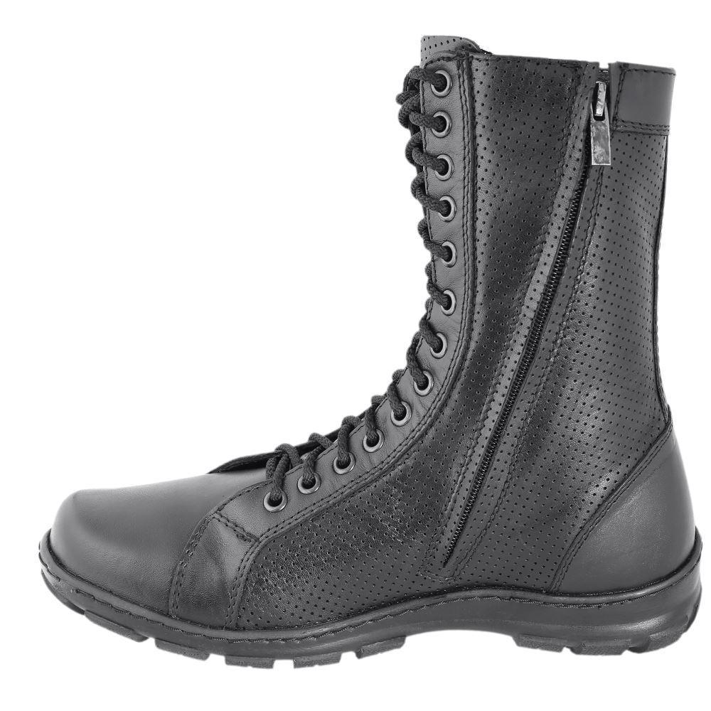 Couro genuíno lace-up ankle boots pretas botas militares dos homens sapatos altos planas feitas na Rússia 0054/44 LA