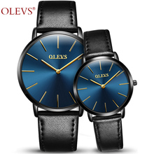 Genuine Watches OLEVS Luxury Couple Watch Women Rose Gold Casual Quartz Lovers Watch Leather Waterproof Male Wristwatch For 1pcs