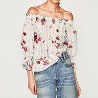 Newest Blusas Femininas 2017 Autumn Women Tops Sexy Off Shoulder Floral Print Blouses Vintage Striped Slash Neck Shirts