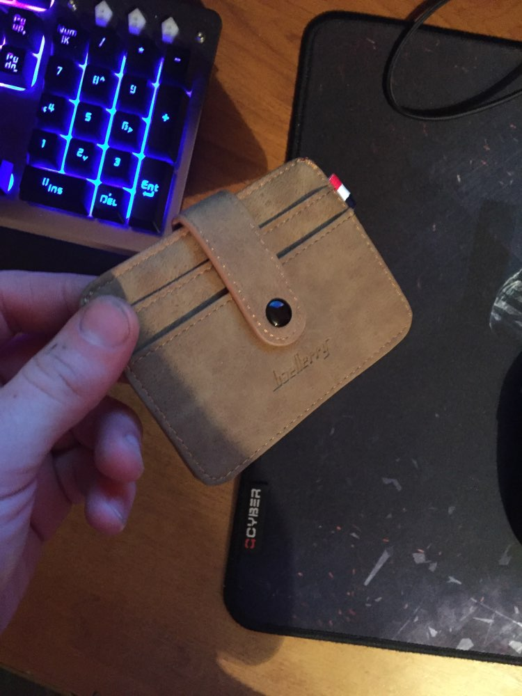 Retro Button Purse Men's Nubuck Leather Thin Slim Business Wallet ID Credit Card Holder photo review