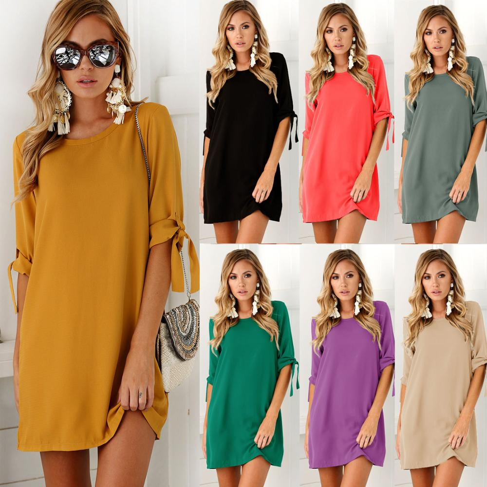custom color Women dresses 2018 New arroval fashion tie plus size o Neck solid color mini Dress dropshipping vestidos KT1 1