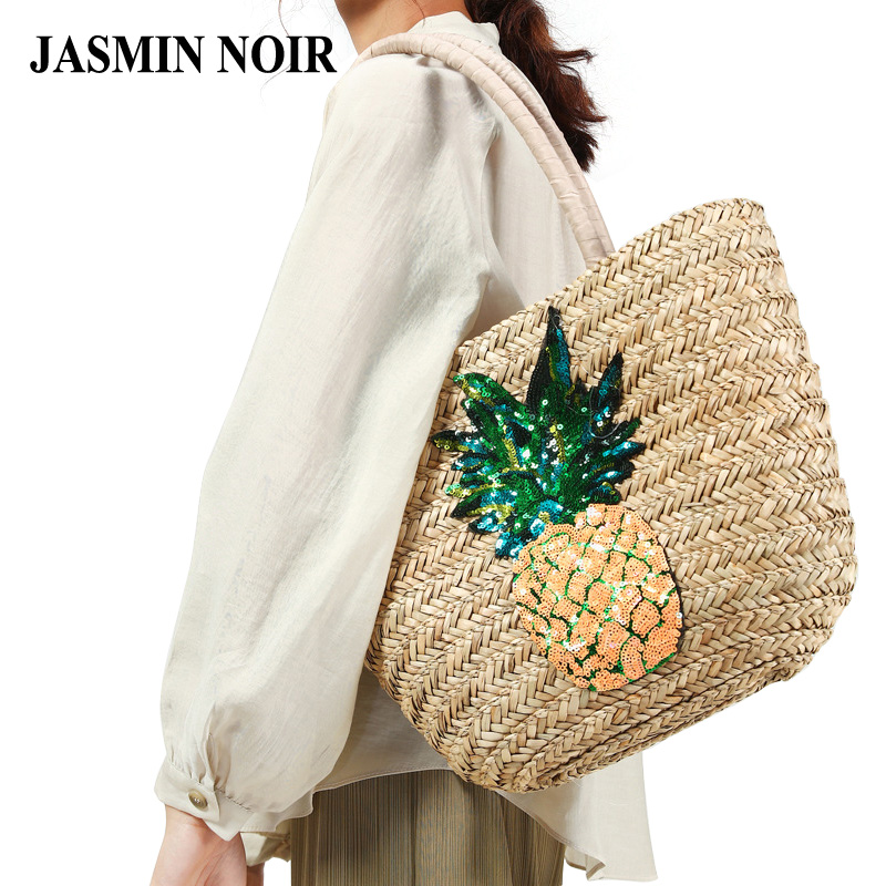 Fashion New Straw Summer Women Shoulder Bag Female Pineapple Hobos Beach Handbag Designer Casual Retro Large Shopping Tote Bag 2018 new fashion circular beach bag summer women shoulder bags round shape straw bag boho vintage retro beach handbag