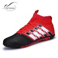 APTESOL גבוהה 2017 TF נעלי כדורגל מותג Mens קרסול מגפי החלקה ילדים אימון כדורגל נעלי כדורגל גבוה למעלה סוליות כדורגל
