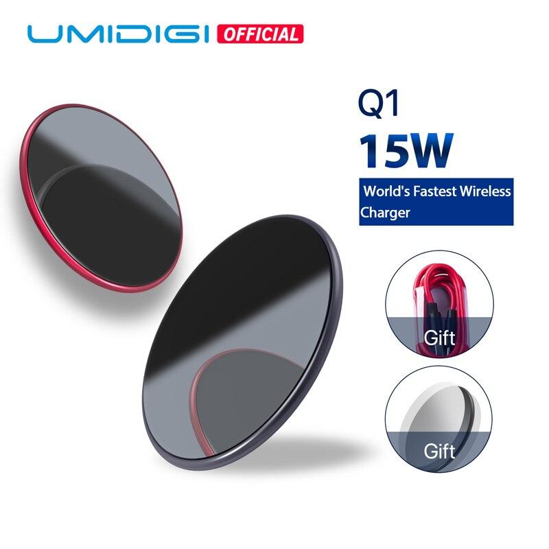UMIDIGI Q1 15 W inalámbrico más rápido cargador para Samsung Galaxy S9 S8 S7 cargador inalámbrico para iPhone 8/X /8 más cojín de carga inalámbrico