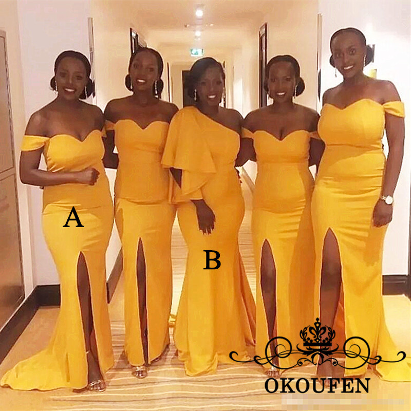 Gold Yellow Satin Mermaid   Bridesmaid     Dresses   2019 One Shoulder Side Split Long Maid Of Honor   Dress   Party Wedding Guest For Women