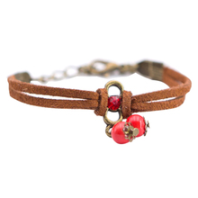 Summer Bohemia Handmade Ceramic Jewelry Women Hot-selling Fashion Ceramics Balls Bracelets Leather Chain With Red Beads