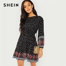 7706b70cc6 SHEIN Black Vacation Casual Boho Bohemian Beach Paisley Print Ruffle Hem Long  Sleeve Dress 2018 Autumn Women Holiday Dresses
