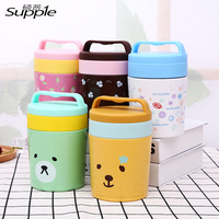 450ml Portable Stainless Steel Japanese Bento Box Bear Flowers Thermal For Food With Containers Lunch Boxs
