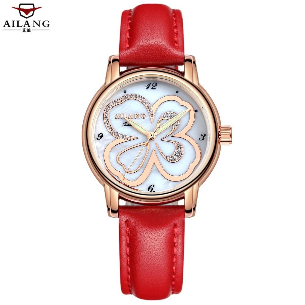 Tout nouveau cuir véritable supérieur papillon fleur montre Femme tenue décontractée dames montre à Quartz montre-bracelet montre pour Femme rouge