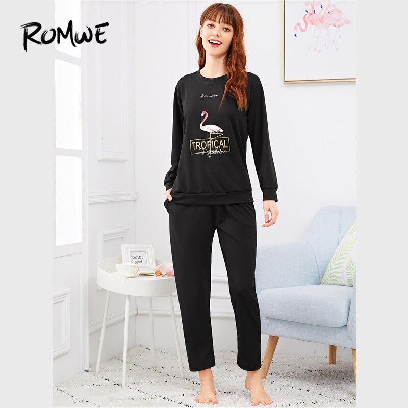 ROMWE Black Animal Flamingo Letter Print   Pajama     Set   Women Casual Autumn Long Sleeve Sleepwear Ladies Round Neck   Pajama     Sets