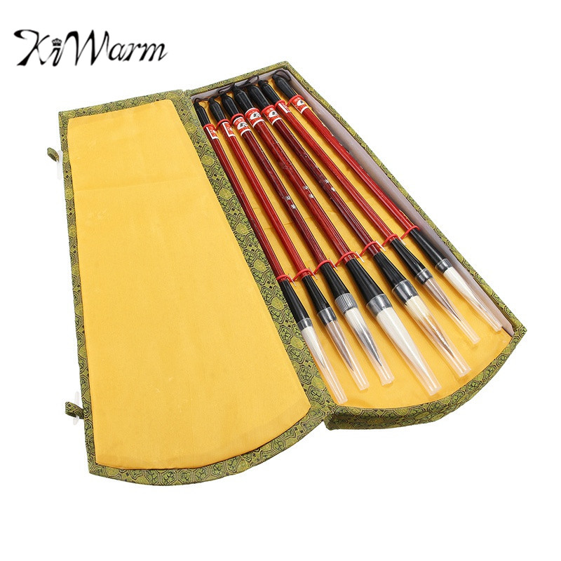 KiWarm Exquisite 7Pcs Chinese Brush Pen Traditional Calligraphy Drawing Writing Painting Brush with Gift Box for Art Painting italic nib art fountain pen arabic calligraphy black pen line width 1 1mm to 3 0mm