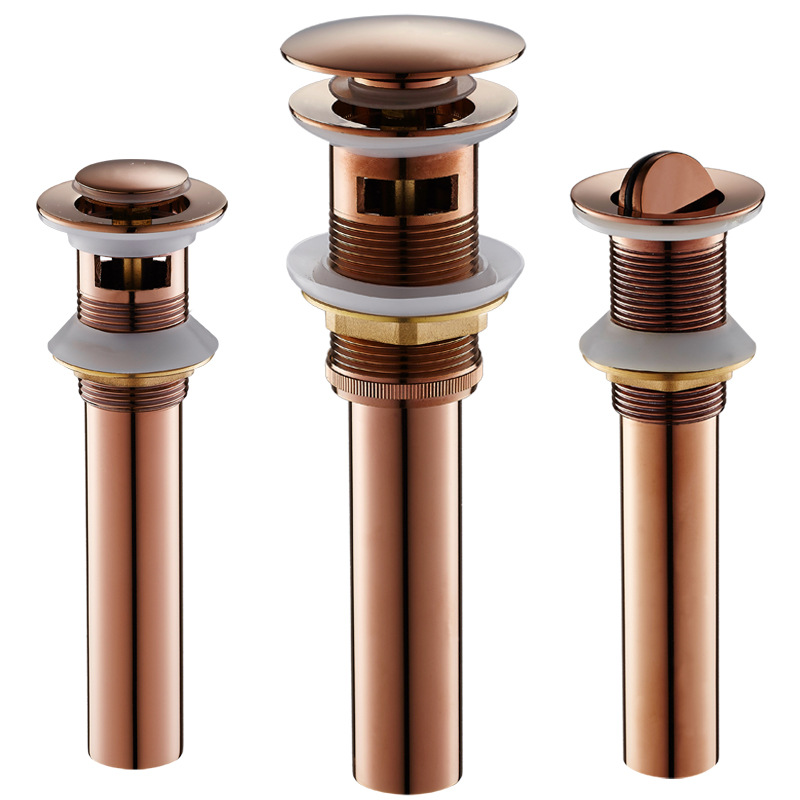 Pop up Drain for Bathroom Sink Vessel Vanity, Rose Gold, Solid Brass, Assembly Replacement Kits Stopper, Flip Top, Overflow
