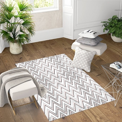Else Gray White Lines Geometric Scandinavian 3d Print Non Slip Microfiber Living Room Decorative Modern Washable Area Rug Mat