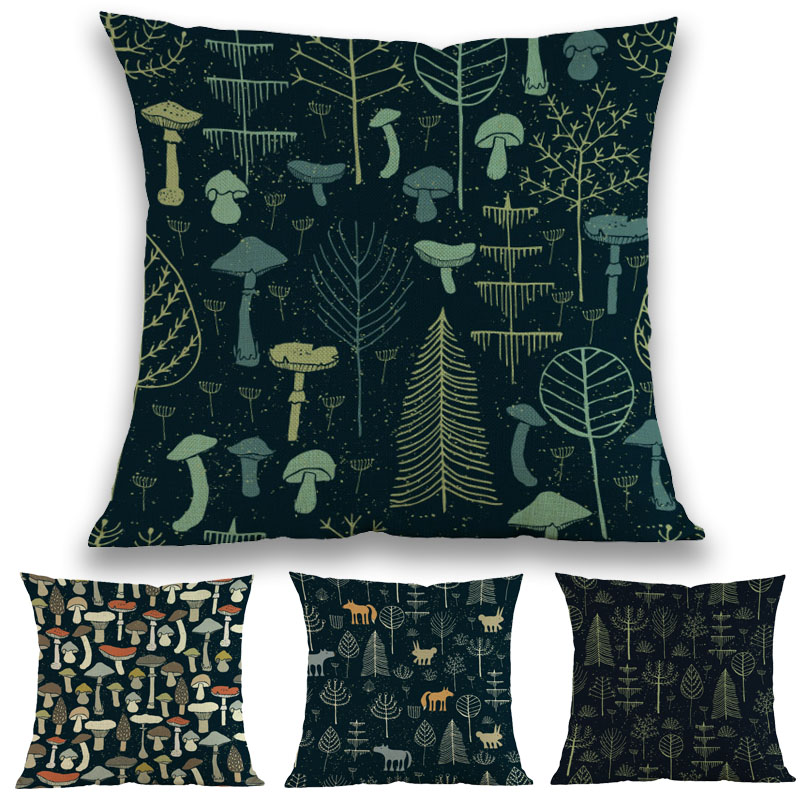 Dark Background Cartoon Magic Forest Mushroom Small Animals Pillow Case Home Sofa Decoration Cushion Cover