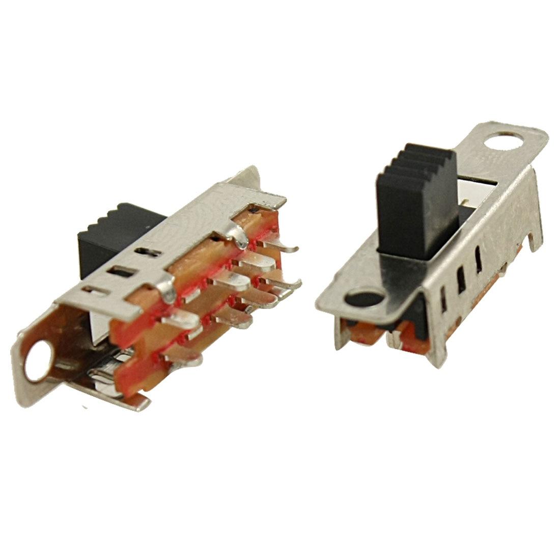 UXCELL 5 Pcs 8 Pin Pcb 3 Position On/On/On Dp3t 2P3t Panel Mini Slide Switch Ss23e04-G5 uxcell 10 pcs single unit pushwheel thumbwheel switch km1 0 9