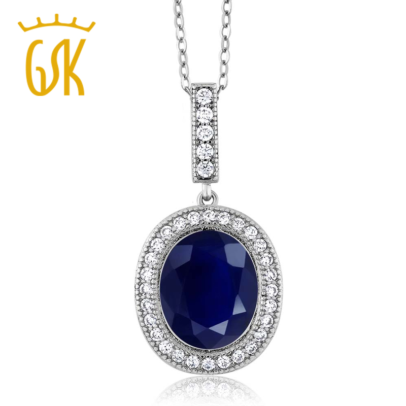 5 41 Ct Oval Natural Blue Sapphire Jewelry 925 Sterling Silver Pendant Necklace For Women GemStoneKing