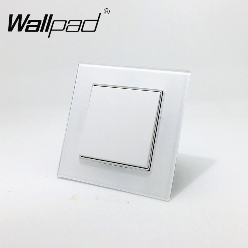 1 Gang 2 Way EU Hook Switch Wallpad 110-250V White Crystal Glass Schuko European Standard Double Control Switch with Claws audience powerchord schuko 2 m
