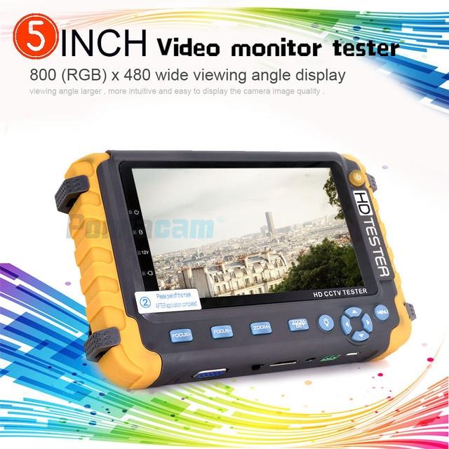 CCTV TESTER 5MP safety protection 5 INCH Tester AHD TVI 4MP CVI Analog  CCTV Tester Monitor VGA HDMI UTP Cable Test 8W