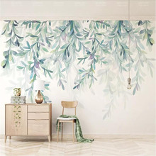 Small fresh hand-painted watercolor green leaves Nordic minimalist TV background wall custom mural factory wholesale