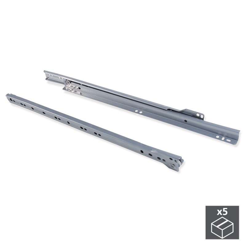 EMUCA 3007925 lot 5 sets guides T30 rolls for drawer with removing partial L 450mm in gray color metallic|Power Tool Sets| |  - title=