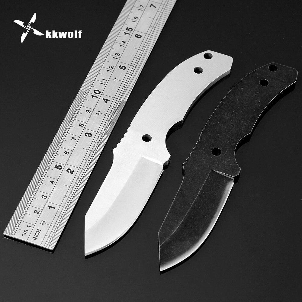 KKWOLF DIY Fixed blade Knife Blanks Stainless Steel Straight Knife blades Pocket Survival Hunting Knife Jungle self defense Tool