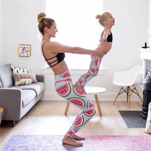 Whimsical cute pink watermelon legging printed sport yoga pants women high waist gym fitness leggings support drop shipping