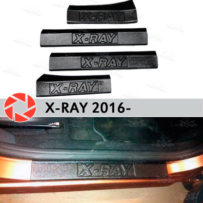 Door sills for Lada X-Ray 2016- plastic ABS step plate inner trim accessories protection scuff car styling decoration for lada vesta 2015 2016 scuff plate door sill strip welcome pedal car styling stickers accessories 4 pcs