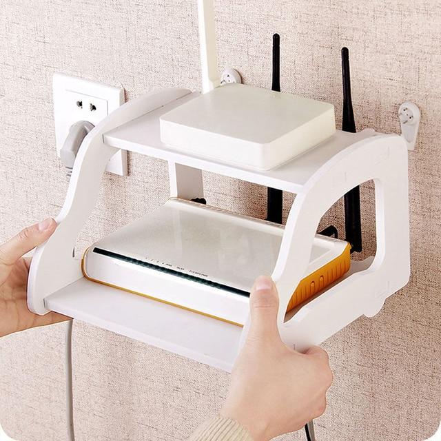 White Storage Decorative Wall Shelf Home Wifi Router Shelf Wall Mounted TV  Set Up Box Storage