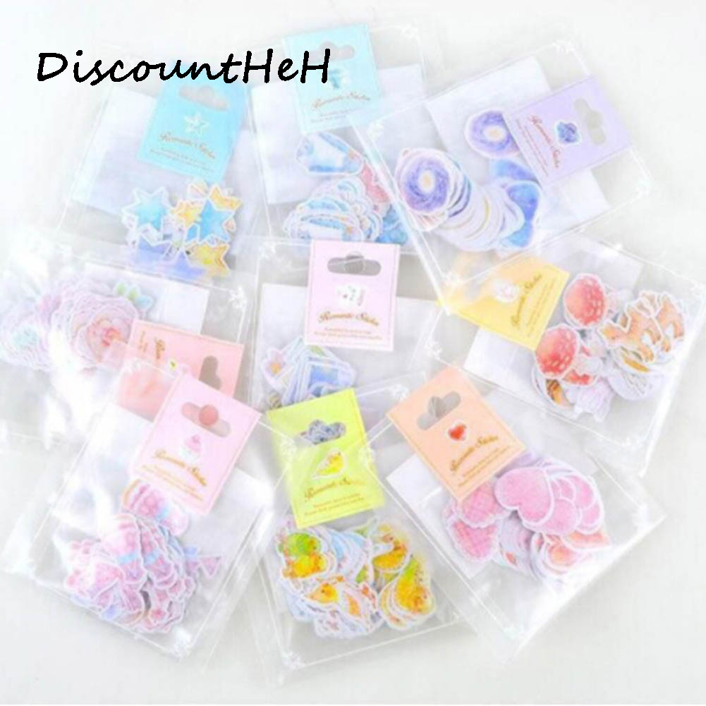 One pack Kawaii Stickers Romantic Small Sticker Painted Watercolor Diary Photo Decorative Stickers