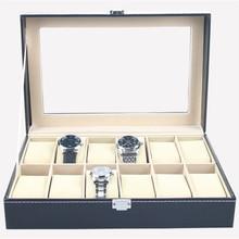 Imitación de Cuero Caja de Reloj Caja de Regalo de Almacenamiento Organizador 12 Slots Joyería Vitrina Bobinadora Saat Kutusu Caja Para Reloj