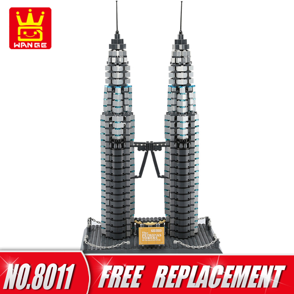 WANGE 1160Bricks DIY Building Blocks Architecture Series The Petronas Towers of Kuala Pumpur Kids Toys for Home Decor NO.8011 world great architecture large wange building blocks set city buildings interesting home decor kids toy bricks compatible lepin