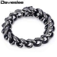 Davieslee 15mm Mens Bracelet 316L Stainless Steel Upturn S Bracelet Gunmetal Tone Magnet Clasp LHB473