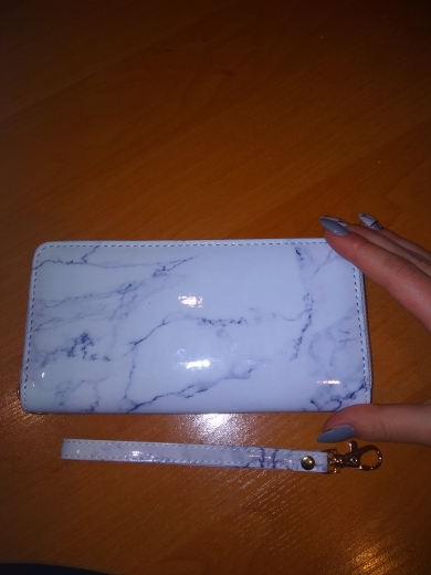Marble Printing Mirror PU leather Long Money Purse Women Elegant Wallets Zipper Large Card Holder Luxury Handy Wallet Clutch Bag photo review