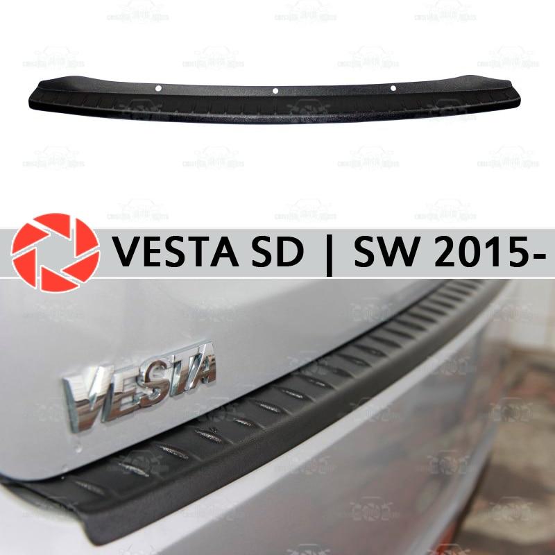For Lada Vesta SD   SW 2015- guard protection plate on rear bumper sill car styling decoration scuff panel accessories