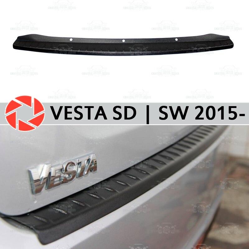 Para Lada Vesta SD | SW 2015-guarda bumper decoração estilo do carro soleira chinelo placa de proteção na parte traseira do painel acessórios