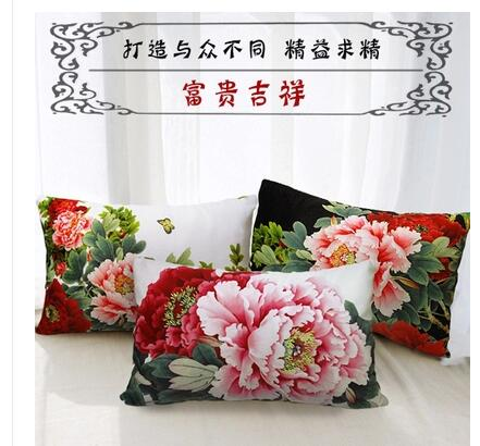 18 Pillowcase 3D Rose Printed Cushions Linen Cushion Cover Throw Pillow Case For Living Room Bed Room Flower Peony Small Fresh