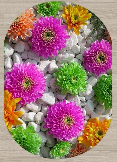 Else Pink Green Flowers On Pebble Stones 3d Pattern Print Non Slip Microfiber Living Room Modern Oval Washable Area Rug Carpet
