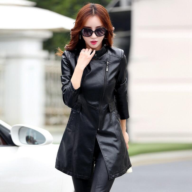 New Autumn Leather Jacket Women PU Long Leather Coat Women V-neck Faux Leather Jacket plus size 5XL,s1022