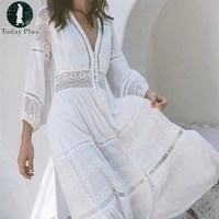 2017 White Lace Patchwork Loose Deep V Neck Lace Hollow Long Sleeve Summer Dress Women Boho