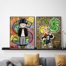 Monopolyingly Art Canvas Painting Street Artist Scrooge Mcduck Dollar Sign Statue Poster Wall Picture for Living Room No Frame(China)