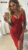 2018 new deep V neck off the shoulder dress sleeveless Ruffles bodycon dress red evening party celebrity sexy bandage dressC 43