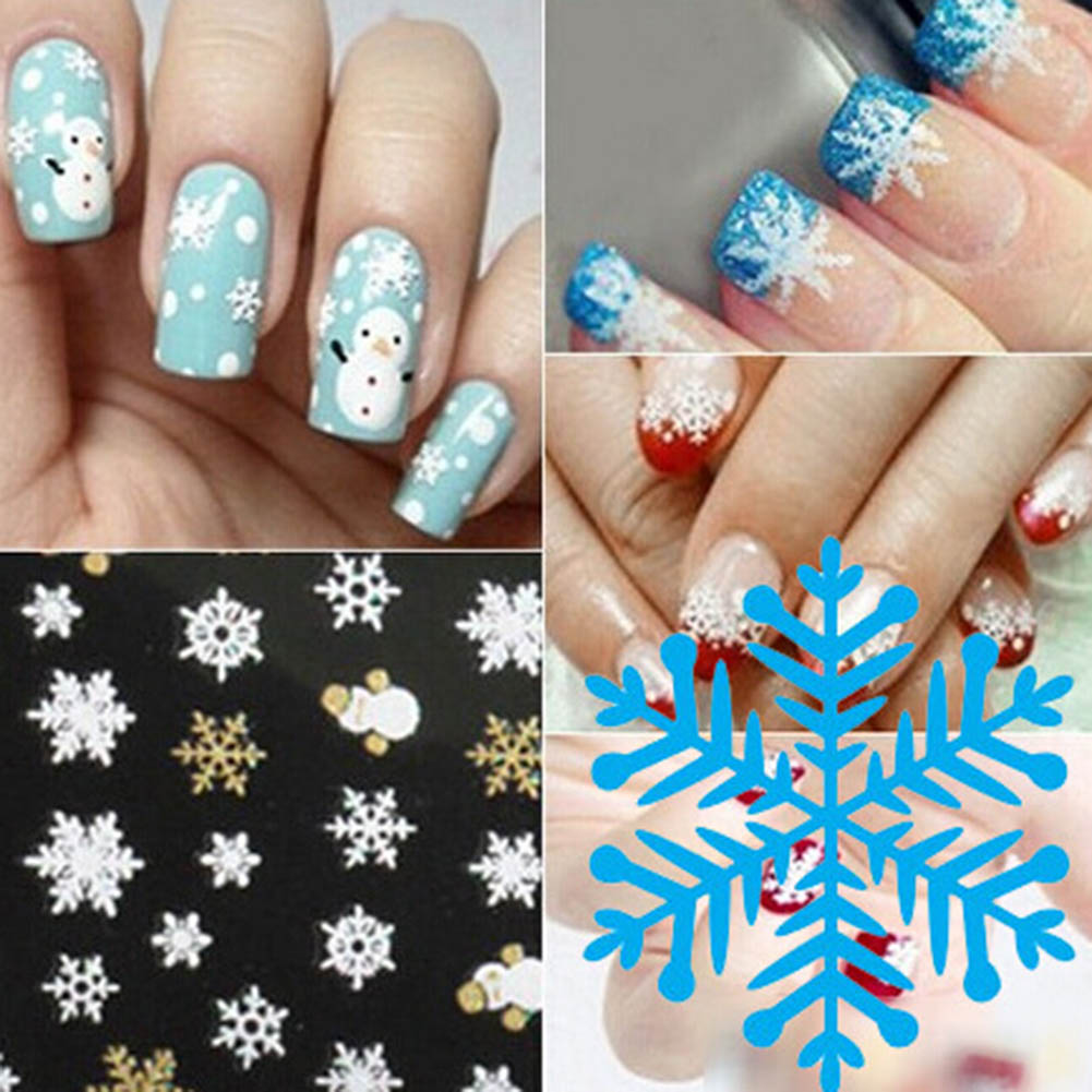 New 3D Nail Art Tips Christmas Snowman Snowflakes Design Nail Decals ...