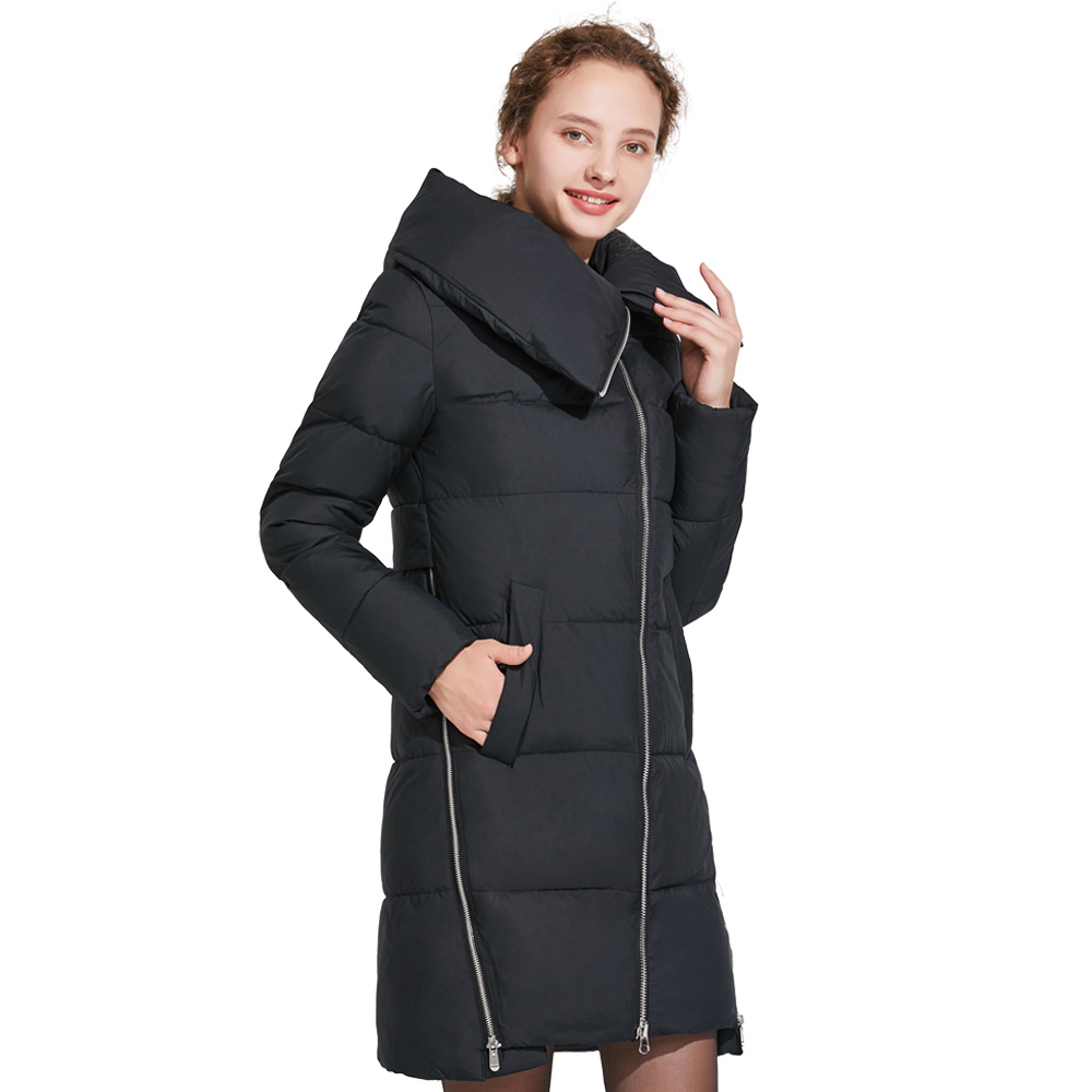 ICEbear 2018 Women Winter Jackets and Coats Side-Sway Zipper Design Zipper Can Be Opened Woman Coat Fashion Overcoat 17G6191D new arrival fashion winter fur hooded collar long sleeves camouflage plus size mix colors thicken down jackets women coat h5778