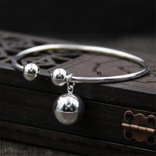 2018 Chic Open 925 Sterling Silver 12mm Ball Pendant Bangles New Fashion Charm Cuff Bracelet Jewelry For Girl Gift  TYC074