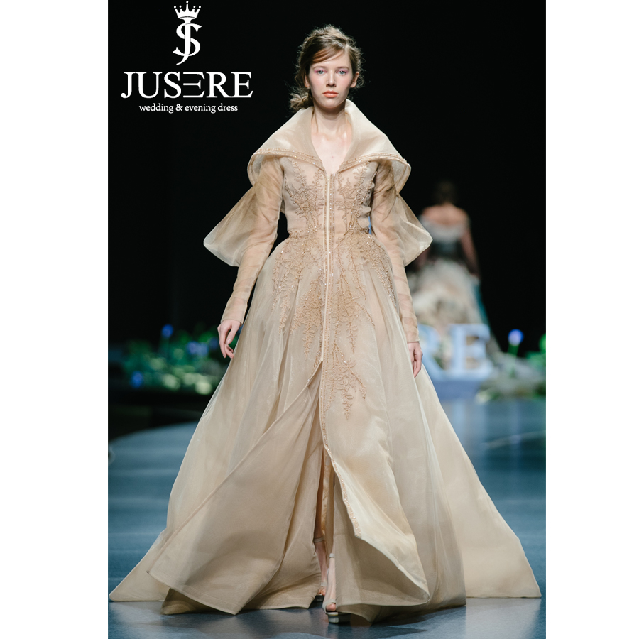 JUSERE 2019 SS FASHION SHOW Champange Long Evening Dress Hand Beaded Embroidery V Neck Sweep Train Formal Gowns Robe De Soiree