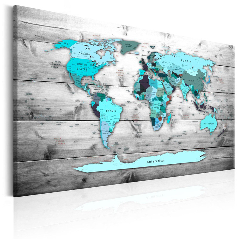 Modern Wall Art Single Pieces World Map Wooden Background Canvas Print Picture