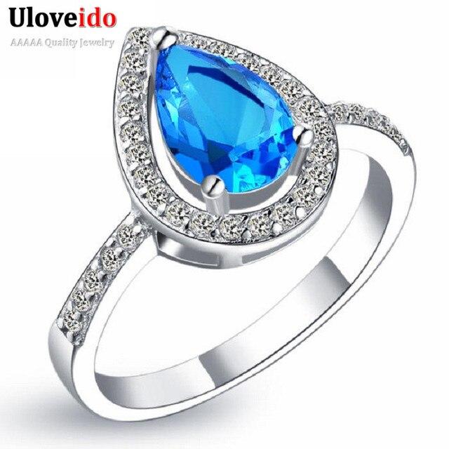 Uloveido Tear Drop Cubic Zirconia Rings Blue Purple Red Stone Silver Color Halo Wedding Ring Pear Cut Women's Jewelry Gift J303
