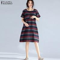 Plus Size ZANZEA Womens Retro Striped Summer Casual Loose Knee Length Dress Cotton Linen Crew Neck