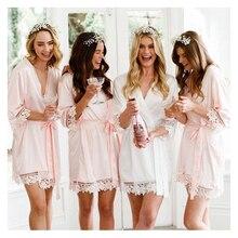 4pcs lot Custom name Maid of honor Bride Lace Silk Robe Wedding Bridal Hen Party Personalized Bridesmaid gift Satin Robes