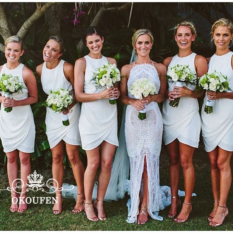 Criss Cross Front Skirt Short   Bridesmaid     Dresses   For Women 2018 White Chiffon Sexy Pleat Sheath Party   Dress   For Wedding